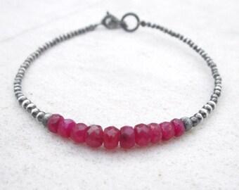 Ruby bracelet, July birthstone, layering gemstone bracelet, precious stone bracelet, minimal dainty bracelet, oxidized sterling silver, red