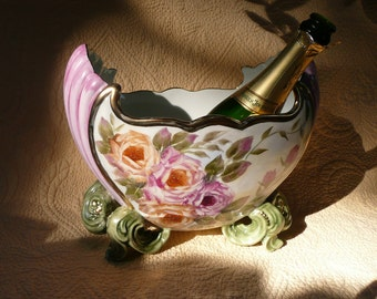 Royal Champagne Bucket or Vase with Roses and Shell Design