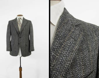 Vintage Harris Tweed Sport Coat Grey Herringbone Jacket Charcoal Wool Sherbet Stripe - 39 R