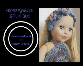 18 inch doll handmade denim summer Halter head band set Ready to ship