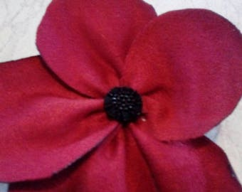 Fabric poppy pin brooch