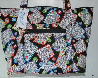 Quilted Fabric Bingo Tote Black with Colorful Bingo Cards and Numbers