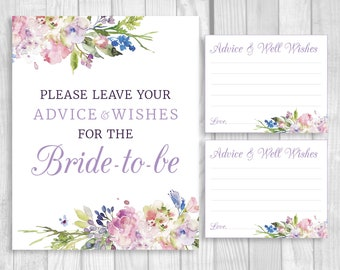 Please Leave Your Advice and Wishes 8x10 Printable Bridal Shower Sign and 4x5 Cards - Purple Lavender Watercolor Flowers - Instant Download