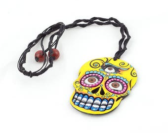 Sugar Skull Necklace Yellow Designs. Day of the Dead