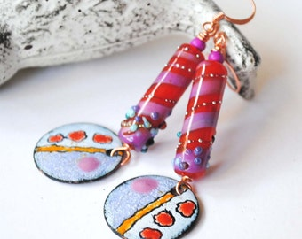 Pink Earrings, Lampwork Bead Earrings, Abstract Earrings, Enamel Earrings, Long Artisan, Earrings, Boho Chic Earrings, Colorful Earrings,