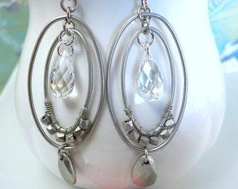 Double silver hoop Swarovski crystal oval hoop earrings, silver double hoop crystal earrings, street boho chic hoop earrings, 50 shades gray