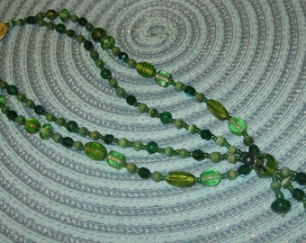 Gorgeous Green Beaded Two Stranded Necklace
