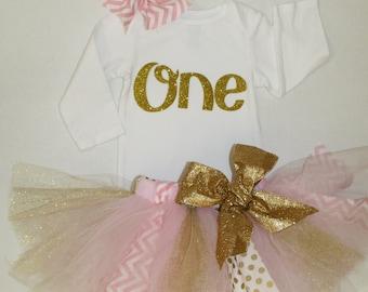 girls birthday outfit, pink gold, first birthday shirt, 1st birthday shirt and tutu skirt, cake smash outfit, gold one shirt, birthday tutu