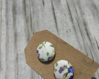 Vintage Inspired White and Lilac Floral Fabric Button Earrings