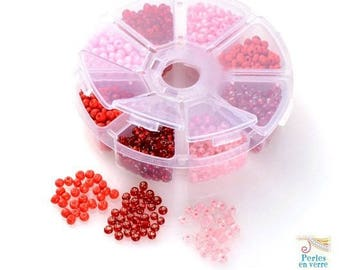 Red orange pink mix: 1 box 150 g seed beads 4mm. 8 different colors