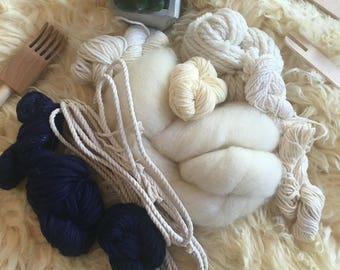 Mixed fibre weaving yarn kit - navy & cream