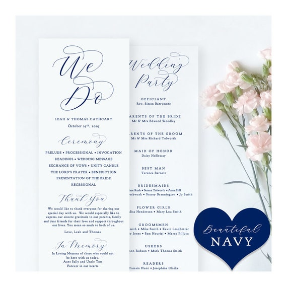 """Navy Wedding Programs, Printable Blue Wedding Programs, Blue Wedding Programs, """"Beautiful"""" Edit in WORD or PAGES"""