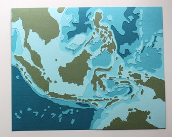 "Indonesia - 8 x 10"" layered papercut art"