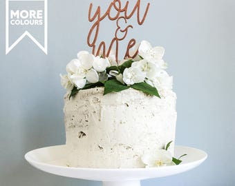 Wedding cake toppers etsy you me anniversary cake topper script cake topper wooden cake topper wedding junglespirit Choice Image