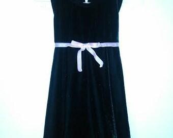 Black Velvet Dress with Pink Velvet Bow