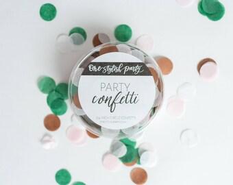 Confettis Party - émeraude Rose - Blush, blanc, émeraude Rose or confettis - décorations de fête Chic