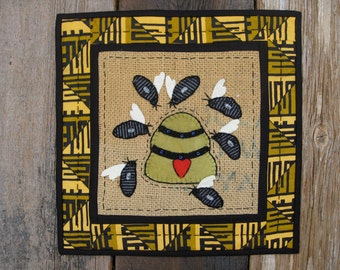Honey Bees-Wool, Cotton, and Burlap Penny Rug Table Runner or Wallhanging