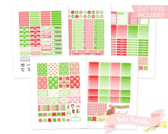 Red and Green Damask Printable Weekly Planner Stickers for Erin Condren Life Planner. Personal Use Cute Christmas Sticker Kit PDF Download