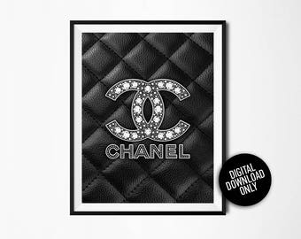 Silver print, Fashion print, Coco Chanel, Fashion Logo, Chanel decor, Leather Chanel Logo, Chanel poster, 31 rue Cambon, Living room decor