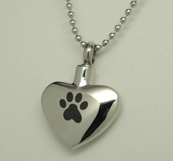 "Stainless Steel Heart with PAW Cremation Urn on 24"" Ball-Chain Necklace - with Velvet Pouch"