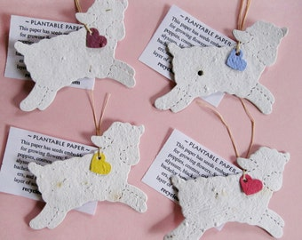 20 Plantable Seed Paper Lambs Baptism Favors - Christening Favors - White Flower Seed Lambs