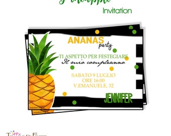 Pineapple summer printable invitation