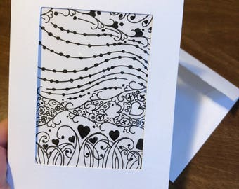 Valentine greeting card aceo atc hand-drawn art card