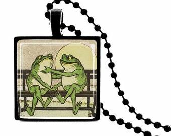 Frog Froggie Went a Courtin' - METAL FRAMED Glass Tile Necklace  Includes Chain - Vintage Postcard Image