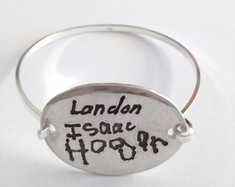 Three Kids 3 Names - Your Child's Signature Silver Bracelet  In Their Own Writing--Made to Order