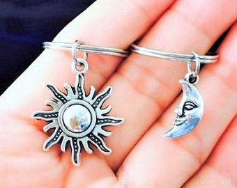 SALE - Set of 2 Sun and Moon Charm Keychain, Best Friends Keychains, Bff Couples, Sisters, Christams Gift.