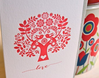 Mothers day, Valentines day, red tree of life Letterpress Card Scandinavian Folk Style Love hand lettering made in Australia