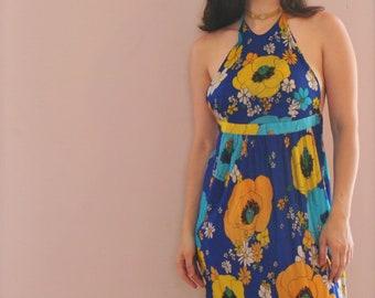 Super Groovy Flower Power 1960's Vintage Halter Dress