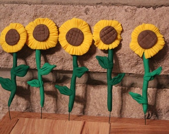 Sunflowers (5pc) ~ Polymer clay