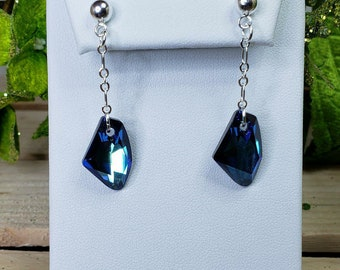 Sterling Silver Angled Triangle 8mm Swarovski Crystal Bermuda