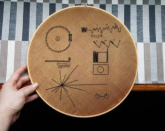 Voyager Golden Record - Hand Stitched Embroidery - 12 Inch Hoop Art
