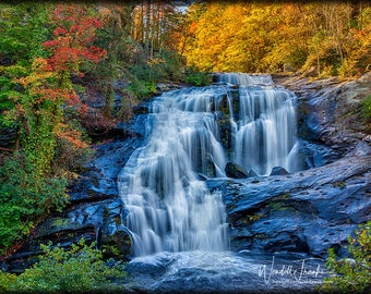 Bald River Falls in Autumn (Horizontal) E241. Waterfall, Smoky Mountains, Tennessee, Colorful, Mountain, Smokies, Leaves, Landscape