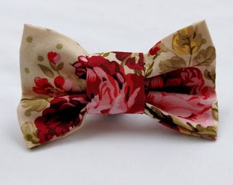 Chic Floral- Dog Collar Bow Tie- Pet Accessory- Pet Supplies-Shabby Chic Floral-Collar Attachment