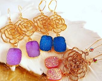Best birthday Gift - Druzy Earrings - Purple Druzy Earrings - Modern Romantic - ENGLISH ROSE Earrings