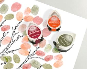 three autumn ink pads for wedding fingerprint guest book tree or baby shower tree - fall wedding - momento dew drop tsukineko ink orange red