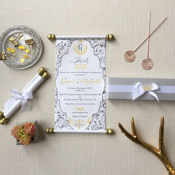 Princess Sweet 16 Scroll Invitation Silver Grey Gold Set of