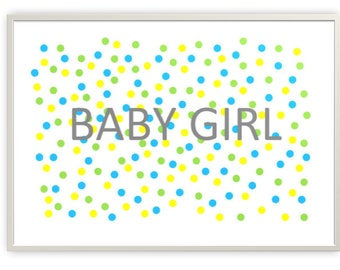 Baby Girl Cool Colours Nursery Printable, Digital Downloads, PDF & JPG Format