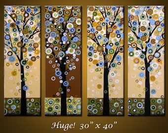 "Abstract Tree Art Painting Original Large Abstract Modern ... 40 x 30, 4 paintings .. ""Dropping Leaves"", by Amy Giacomelli"