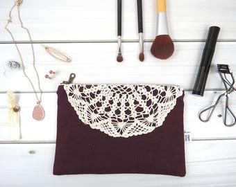 Linen Lace zipper pouch medium size - VINTAGE HELEN in Eggplant - vintage cotton lace, linen cosmetic bag, passport case clutch