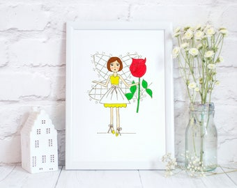 Fairytale Art, Kids Print, Girls Room Decor, Nursery Prints, Kids Illustration Print, Chidlrens Room Prints, Little Girls Wall Art, Playroom