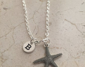 Starfish initial necklace, starfish jewelry, beach necklace, ocean jewelry, sea necklace, beach jewelry, silver starfish necklace