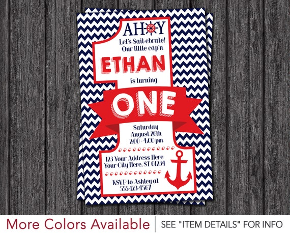 Nautical First Birthday Invitation Nautical 1st Birthday