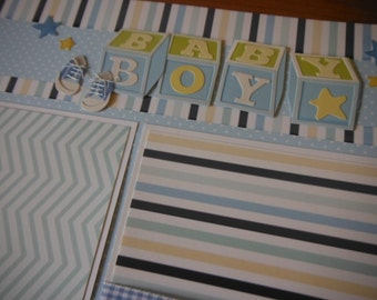2 Premade Baby Boy 12x12 Scrapbook Pages for your son and album