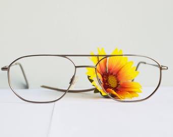 Vintage 1990s Aviators/ All Metal Frames/ New Old stock Glasses/ Metallic Brown Cheap Very Nice/ Vintage Eyewear