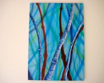 "3D acrylic painting ""blue bamboo 2"""