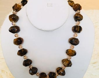 Tigers eye necklace with crystal beads.
